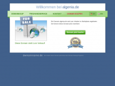 Screenshot der Domain algenia.de