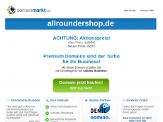 Screenshot der Domain allroundershop.de