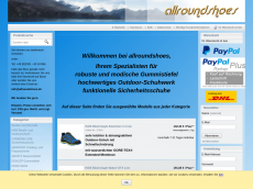 Screenshot der Domain allroundshoes.com
