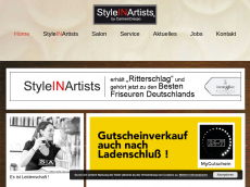 Screenshot der Domain styleinartists.de