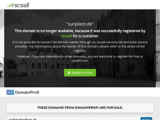 Screenshot der Domain sunplace.de